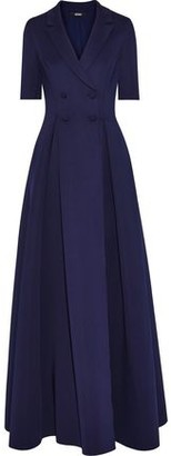 Badgley Mischka Double-breasted Pleated Neoprene Gown