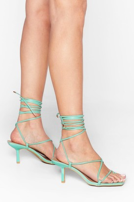 Nasty Gal Womens Tie to Pull It Toe-gether Faux Leather Kitten Heels - green - 3