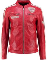 Freaky Nation Silverstone Leather Jacket Red Chalk