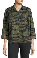 MiH Jeans Tiger-Camo Button-Front Boxy Shirt
