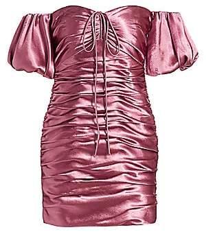 Cinq à Sept Women's Tati Puff-Sleeve Ruched Satin Mini Dress