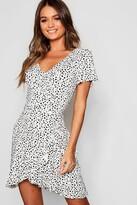 boohoo Dalmatian Print Ruffle Tea Dress