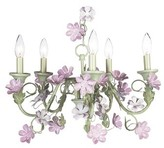 The Well Appointed House Pink and Green Five Arm Leaf and Flower Chandelier