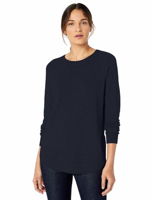 Lark & Ro Crew Neck Shirttail Hem Sweater Dark Navy XS