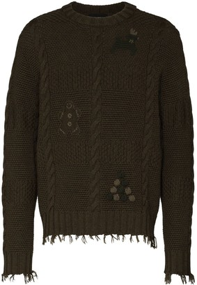 Alanui Christmas embroidery cable-knit jumper