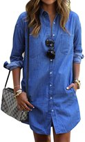 Sophia17 Womens Sexy Lapel Long Sleeve Button Slim Fit Long Denim Dress Long Shirt Dress