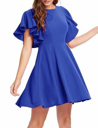 ZIGJOY Women's Casual Flowy A-Line Solid Color O-Neck Flutter Sleeve Summer Party Cocktail Skater Shift Short Dress Royal Blue-S