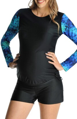 Mermaid Maternity Contrast Sleeve Maternity Rashguard