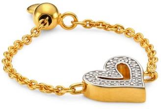 Monica Vinader 18K Gold Vermeil & Diamond Alphabet Heart Friendship Chain Ring