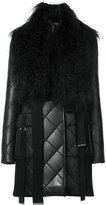 David Koma quilted coat with shearling collar
