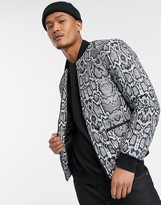 Bolongaro Trevor snakeskin quilted bomber jacket-Grey