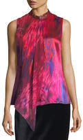 Elie Tahari Faya Sleeveless Silk Blouse w/ Leather Collar