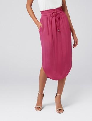 Forever New Cara Ruched Waist Midi Skirt - Playful Magenta - 10