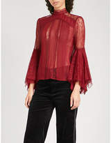 Alice + Olivia Alice & Olivia Ivy silk-chiffon and floral-lace blouse