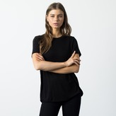 DSTLD Silk Blend Slim Crew Neck in Black