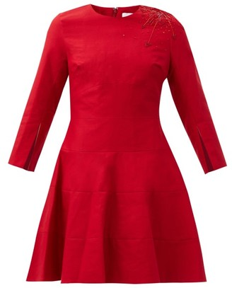 Duncan - Delacroix Beaded Flared Cotton-crepe Dress - Red