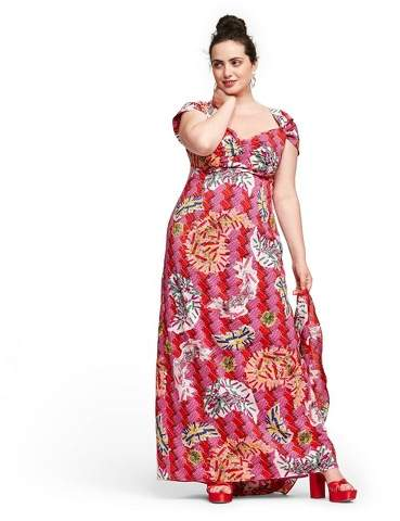 for Target Women\'s Plus Size Safety-Pin Print Cap Sleeve Sweetheart Neck  Maxi Dress for Target Magenta