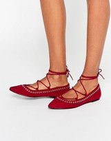 Asos LOIS Lace up Pointed Ballet Flats