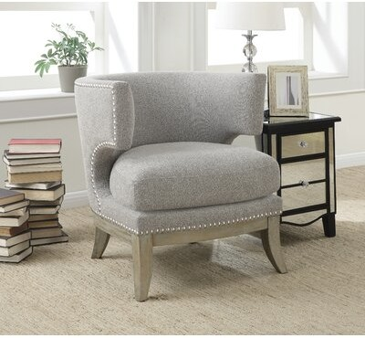 """Thumbnail for your product : One Allium Way Gonzalas 29.25"""" Wide Polyester Barrel Chair Fabric: Gray"""
