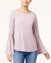 Ultra Flirt Juniors' Bell-Sleeve Peasant Top