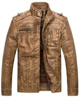 Wantdo Men's Vintage Stand Collar Pu Leather Jacket US