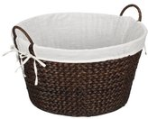 Household Essentials Round Wicker Laundry Hamper with Liner, Dark Brown