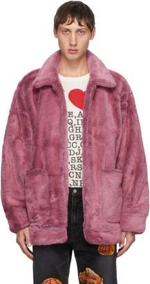 Doublet Pink Peinture Faux-Fur Jacket