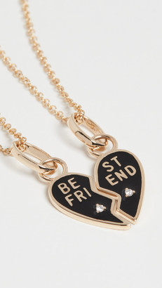 The Last Line 14k Diamond Black Enamel BFF Pendant Necklace