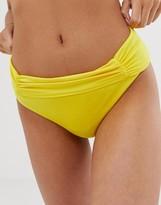 Asos Design DESIGN fuller bust exclusive drape bikini bottom in popcorn yellow