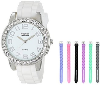 XOXO Women's Analog Watch with Silver-Tone Case Crystal-Inset Bezel 7 Interchangeable Bands Included - Official Woman's Silver-Tone Watch Silicone Buckle Straps - Model: XO9069