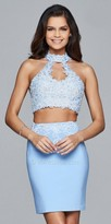Faviana Two Piece Rhinestone Racer Back Fitted Homecoming Dress