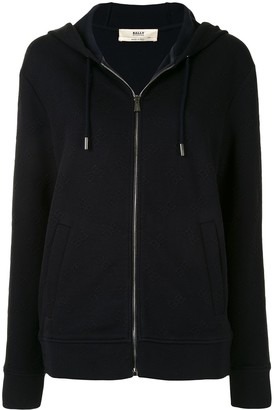 Bally All Over Logo Zip-Up Hoodie