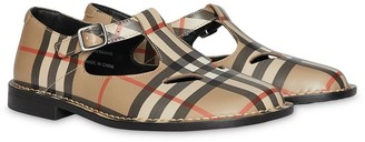 BURBERRY KIDS Vintage Check Leather Mary Jane Shoes