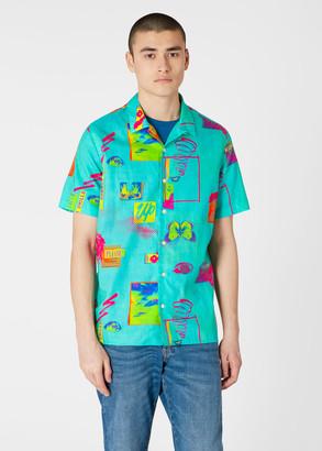 Men's Classic-Fit Turquoise 'Up' Print Short-Sleeve Cotton Shirt