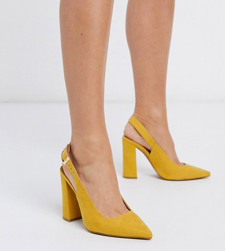 ASOS DESIGN Wide Fit Planet high block heels in mustard