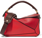 Loewe Puzzle Small Color-block Leather Shoulder Bag - Red