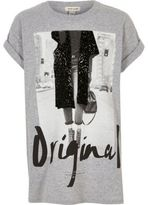 River Island Girls grey print T-shirt