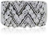 14K White Gold Diamond 'V' Wide Band Ring