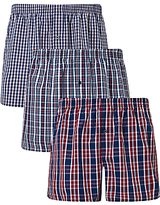 John Lewis Sandbank Check Woven Cotton Boxers, Pack Of 3, Red/navy