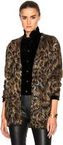 Saint Laurent Leopard Mohair Jacquard Cardigan