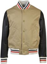 Moncler Gamme Bleu Leather Sleeves Bomber Jacket