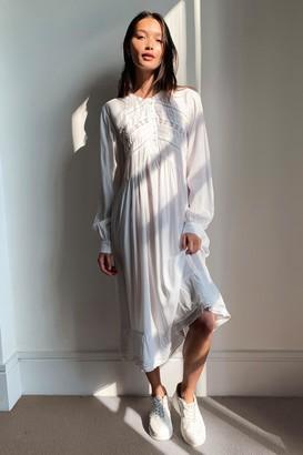 Nasty Gal Womens Lace Panel Button Down Midi Dress - White - 10