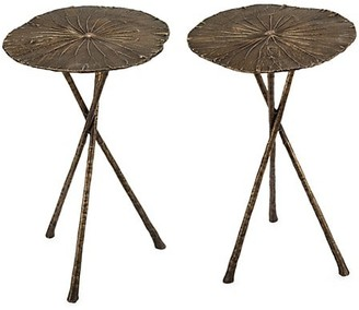 REGINA ANDREW 2-Piece Small Antique Brass Lotus Table Set