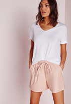 Missguided Tie Waist Detail Faux Leather Shorts Nude