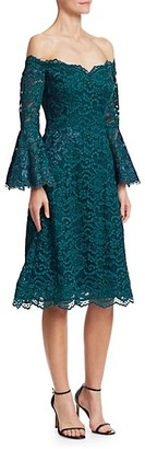 Teri Jon Bell-Sleeve Off-The-Shoulder Lace Dress