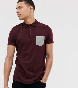 Asos Design DESIGN Tall polo shirt with contrast pocket in burgundy-Red
