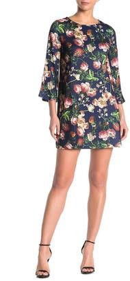 Papillon Lace-Up Sleeve Floral Knit Mini Dress