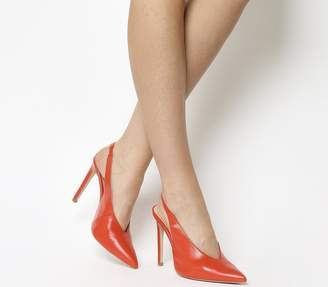 Office Hix V Cut Slingback Court Heels Bright Red Leather