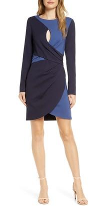 Adelyn Rae Bria Colorblock Long Sleeve Keyhole Knit Sheath Dress