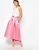 Closet London Closet Full Prom Midi Skirt in Sateen